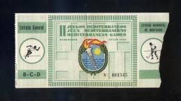 Barcelona. *II Juegos Mediterráneos. 1955* Entrada General Nº 1545. Meds: 65x173 Mms. - Tickets - Entradas