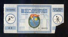 *II Juegos Mediterráneos. Barcelona 1955* Entrada Tribuna Nº 1123. Meds: 65 X 173 Mms. - Tickets - Entradas