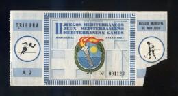 Barcelona. *II Juegos Mediterráneos. 1955* Entrada Tribuna Nº 1123. Meds: 65x173 Mms. - Tickets - Entradas