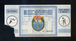 *II Juegos Mediterráneos. Barcelona 1955* Entrada Tribuna Nº 1122. Meds: 65 X 173 Mms. - Tickets - Entradas