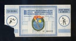 Barcelona. *II Juegos Mediterráneos. 1955* Entrada Tribuna Nº 1122. Meds: 65x173 Mms. - Tickets - Entradas