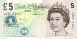GREAT BRITAIN 5 POUNDS 2002 (2004) P-391c UNC SIGNATURE: A. BAILEY (2004-2011) [GB391c] - 1952-… : Elizabeth II