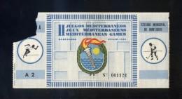 Barcelona. *II Juegos Mediterráneos. 1955* Entrada Tribuna Nº 1124. Meds: 65x173 Mms. - Tickets - Entradas