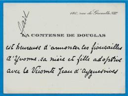 Carte De Visite Faire-Part Noblesse LA COMTESSE DE DOUGLAS 75007 PARIS Fiançailles Yvonne & Vicomte D'Ayguesvives - Verloving