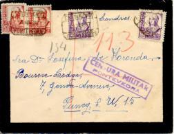 """1938 """" Certificado De Pontevedra A Londres """" Al Dorso Llegada. Censura. - Marcas De Censura Nacional"""
