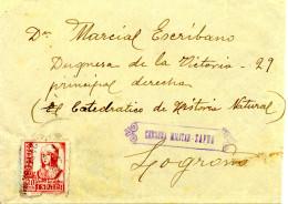 """1937 """" Carta De Zafra (Badajoz) A Logroño """" Al Dorso Llegada. Censura. - Marcas De Censura Nacional"""