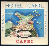 Italia. Capri *Grand Hotel-Restaurant Crapi* Meds: 120x133 Mms. - Etiquetas De Hotel