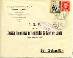 """1937 """" Carta De Tolosa A San Sebastian """" Sello Cruzada Contra El Frio. Censura. - Marcas De Censura Nacional"""