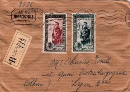 1953 LETTRE MONACO. RECOMMANDE MONACO-VILLE POUR LYON / 7920
