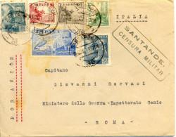 """1939 """" Carta De Santander A Roma """" Al Dorso Tránsito Y Llegada. Censura Ver 2 Scan - Marcas De Censura Nacional"""