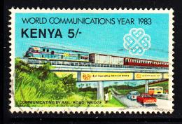 Kenya Used Scott #269 5sh Communicating By Rail; Road, Bridge - World Communication Year - Kenya (1963-...)