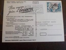 CPSM    TIMBRE  DE MONACO    SUR CARTE VOITURE ANCIENNE    /  NICE USED STAMPS PUB VAGANTYL