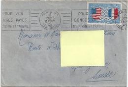 Timbre AMITIE FRANCO-AMERICAINE République Française Postes -enveloppe 1949-