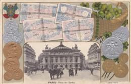France Money Coins Pictured, Paris View Place De L'Opera Street Scene, C1900s Vintage Postcard - Coins (pictures)