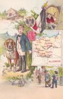 Map Of Germany, Artist Image Postage Stamp Child Fashion, Man Drinks Beer, Dog, C1900s Vintage Postcard - Maps