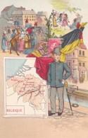 Map Of Belgium, Artist Image Postage Stamp Child Fashion, Flag, Carnival Parade, C1900s Vintage Postcard - Maps