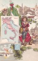 Map Of Italy, Artist Image Postage Stamp Child Fashion, Flag, Volcano, C1900s Vintage Postcard - Maps