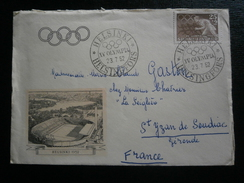 FILAND FINLANDE JEUX OLYMPIQUES OLYMPIC GAMES JO HELINSKI 1952 CACHET OBLITERATION LETTRE ILLUSTREE STADE COVER LETTER