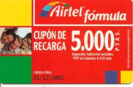 CARTE§ PREPAYEE-AIRTEL-CUPON RECARGA-5000 PTAS-31/12/2001-TBE - Airtel