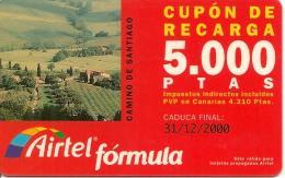 CARTE§ PREPAYEE-AIRTEL-CUPON RECARGA-5000 PTAS-CAMINO De SANTIAGO-31/12/2000-TBE - Airtel