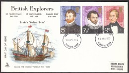 Great Britain Plymouth Devon 1973 / British Explorers / Francis Drake, Walter Raleigh, Charles Sturt / Ship