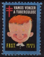 1962 BRASIL - TBC Tuberculosis Charity Stamp - USED Label Cinderella Vignette / Vamos Vencer