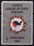 1989 CYPRUS - TBC Tuberculosis Charity Stamp - USED Label Cinderella Vignette - BIRD BIRDS