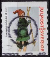 Ski Skiing - CHRISTMAS POST 2003 SWEDEN - Carl Larsson Painting - USED Label Cinderella Vignette