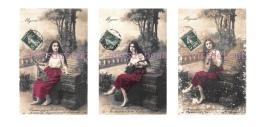 Serie De 3 Cpa 1903 - MIGNON  - Jeune Femme Brune Mandoline  - écrite  - 2 Scans - Donne