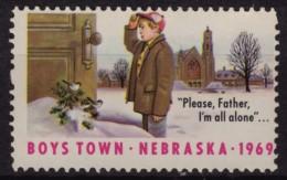 Tit Bird / Cathedral  - Boys Town - Nebraska - Charity Stamp / Label / Cinderella - USA 1969