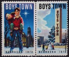 CATHDRAL CHURCH / Tower Snowman - Boys Town - Nebraska - Charity Stamp / Label / Cinderella - USA 1965