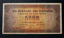 España / Spain . 100 Pesetas 1938 Burgos . Serie A - [ 3] 1936-1975 : Régence De Franco