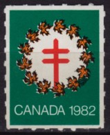 Leaves Leaf / CHRISTMAS - Canada 1982 - TBC Tuberculosis Charity Stamp / Cinderella / Label / Vignette - Used