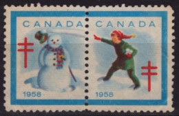Snowman / 1958 Canada - USED Tuberculosis Charity Stamp / Label / Cinderella / Vignette