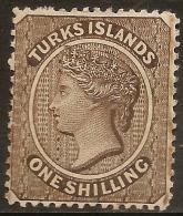 TURKS Is 1887 1/- Sepia QV SG 60 HM #WE56