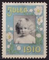 CHRISTMAS Flower Baby Child - JUL JULEN - LABEL / CINDERELLA / VIGNETTE - 1910 Denmark - Christmas