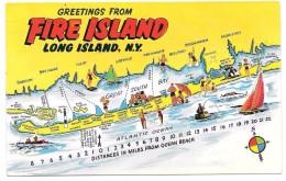 GREETINGS FROM FIRE ISLAND - LONG ISLAND N.Y. - Ed. TOMLIN Cards - 1961 - Long Island