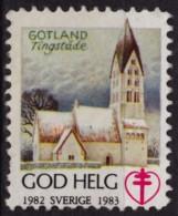Church Cathedral Gotland Tingstäde / 1982 SWEDEN / Tuberculosis Charity Stamp / Label / Cinderella / Vignette - GOD HELG