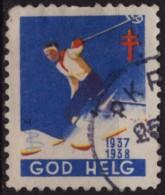 SKI Skiing / 1937 SWEDEN / Tuberculosis Charity Stamp / Label / Cinderella / Vignette - GOD HELG