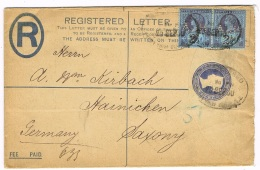 GREAT BRITAIN - Registered Postal St. C. EU 20 B, Posted 11.8.1900 To Germany, Uprated By 2x # 89 W/ PERFIN AJHCo - 978