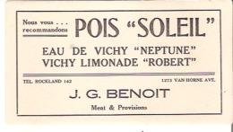 """J. G. Benoit Meat & Provisions, Van Horne Avenue, Montreal Nous Vous Recommandons Pois """"Soleil"""" Eau De Vichy """"Neptune"""" - Paints"""