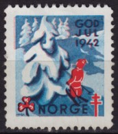 SKI SKIING - Christmas / GOD JUL / TBC Tuberculosis Charity Stamp - USED Label Cinderella Vignette - 1942 NORWAY