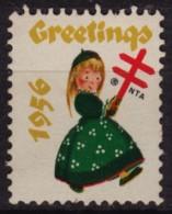 1956 USA - CHRISTMAS - National Tuberculosis Association (NTA) Charity Stamp / Label / Cinderella / Vignette
