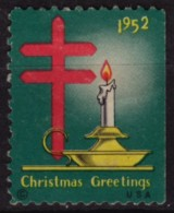 1952 USA - CHRISTMAS Candle - TBC Tuberculosis Charity Stamp / Label / Cinderella / Vignette