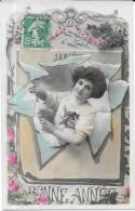LOT De 4 CPA COLORISEE BONNE ANNEE - Jeune Femme Sortant Du Calendrier - Edit P C Paris - ENCH0616 - - Cartes Postales