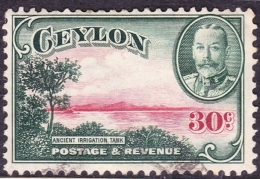 CEYLON 1935 KGV 30c Carmine & Green SG376 Watermark Sideways Fine Used - Bermuda