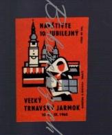 28-185 CZECHOSLOVAKIA 1965 Trnava Jarmark - Fair  Feria Cathedral Of St. John The Baptist + Tower In The Historical Cent - Boites D'allumettes - Etiquettes