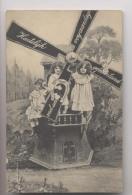 ENFANTS SUR UN MOULIN - 1908 - Moulin à Vent - Wind Mill - Animée - Groupes D'enfants & Familles
