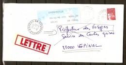 Enveloppe Avec Griffe De La Poste.  Insuffisance D´affrancht.  Contrexeville  /  Vosges. - Abarten Und Kuriositäten