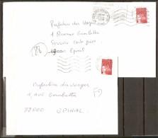 FRANCE.   1998.   Lot  2  ENVELOPPES   /   FAUSSE  DIRECTION.  VOSGES. - Abarten Und Kuriositäten